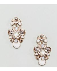 True Decadence - Pink Cluster Jewelled Earrings (+) - Lyst