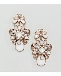 True Decadence - Pink Cluster Jewelled Earrings - Lyst