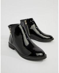 Vero Moda - Patent Side Zip Boots - Lyst