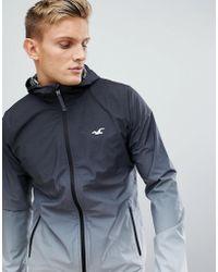 Hollister - Hooded Lightweight Jacket Dip Dye Effect Seagull Logo In Black Ombre - Lyst