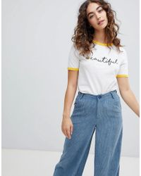 Daisy Street - Ringer T-shirt With Beautiful Print - Lyst