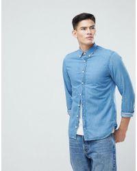 Mango | Man Slim Denim Shirt In Mid Wash Blue | Lyst