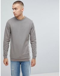 ASOS - Longline Muscle Sweatshirt In Grey - Lyst
