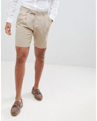 ASOS - Crepe Pleat Front Tapered Smart Short In Tan - Lyst