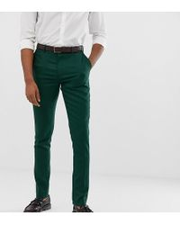 ASOS - Tall Wedding Skinny Suit Trousers In Forest Green Micro Texture - Lyst