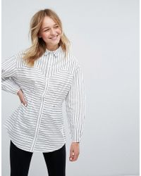 Monki   Contrast Stripe Shirt   Lyst