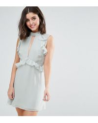 True Decadence - Ruffle Shoulder Mini Skater Dress - Lyst