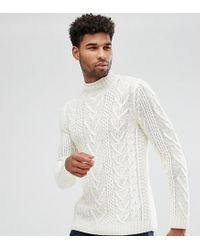 ASOS - Tall Cable Knit Jumper In Oatmeal - Lyst