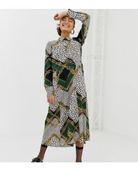 f005a980e3c3 Monki Animal Print Oversized Shirt Dress in Natural - Lyst