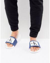 Calvin Klein - Vital Logo Sliders In Blue - Lyst