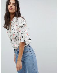 Lily and Lionel - Ruffle Shirt In Doodle Print - Lyst