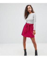 ASOS | Textured Mini Skater Skirt With Paperbag Waist And Belt | Lyst
