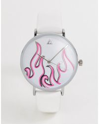 ASOS Watch With Neon Flame In White