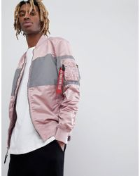 Alpha Industries - Ma-1 Vf Lw Reflective Chest Stripe Bomber Jacket Slim Fit In Pink/silver - Lyst