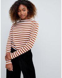 Weekday - High Neck Stripe Oversized Top - Lyst