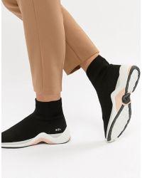 Kurt Geiger - Kg Kurt Geiger Black Sock Trainers With Neon Trim - Lyst