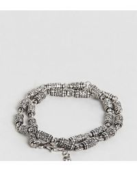 Reclaimed (vintage) - Inspired Double Wrap Chain Bracelet In Silver Exclusive To Asos - Lyst