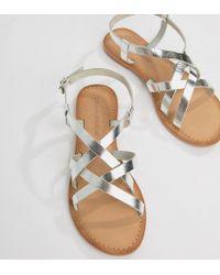 Vero Moda - Flat Leather Sandal - Lyst
