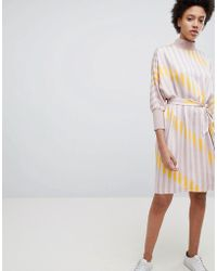 SELECTED   Stripe Printed Shift Dress   Lyst