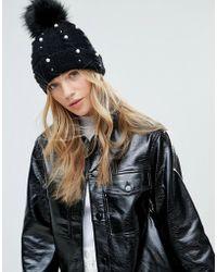 Miss Selfridge - Black Pearl Embellished Hat - Lyst