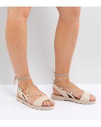 ASOS - Fizzle Wide Fit Jelly Tie Leg Sandals - Lyst