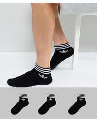 adidas Originals - 3 Pack Ankle Socks In Black Az5523 - Lyst