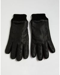French Connection - Half Leather & Knitted Gloves - Lyst