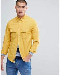 Abercrombie & Fitch - Chamois Cotton Shirt Regular Fit In Yellow - Lyst
