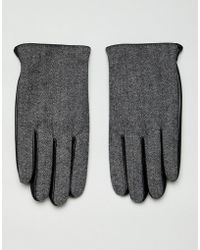ASOS - Leather Touchscreen Gloves In Black With Herringbone Detail - Lyst