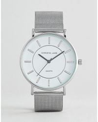 Christin Lars - Silver Watch With Round White Dial - Lyst