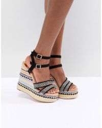 River Island - Stripe Wedge Heeled Sandals - Lyst
