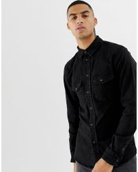 Bershka - Western Shirt In Black With Popper Buttons - Lyst