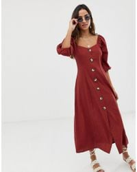 ASOS - Puff Sleeve Button Through Maxi Dress In Seersucker - Lyst 3501218b5