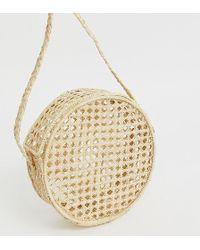 Kaanas - Net Raffia Round Cross Body Bag In Natural - Lyst