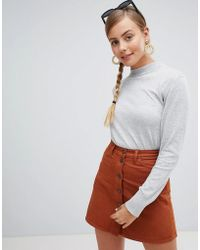 Monki - Lightweight High Neck Sweater In Gray - Lyst
