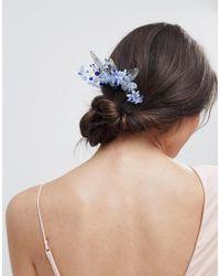 ASOS DESIGN - Metal Leaf Jewel And Pearl Floral Hair Clip - Lyst