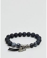 ASOS DESIGN - Asos Beaded Bracelet With Skull And Semi Precious Stones - Lyst