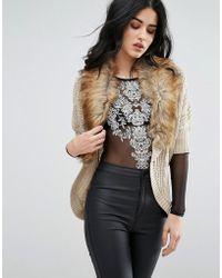 Lipsy - Cardigan With Faux Fur Collar - Lyst