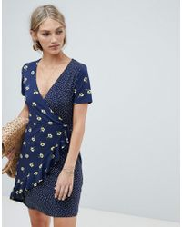 Warehouse - Wrap Dress With Ruffle Detail In Mixed Floral And Polka Print - Lyst