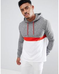 ASOS DESIGN - Hoodie With Colour Blocking In Interest Fabric - Lyst