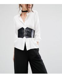 Retro Luxe London - Wide Double Buckle Leather Corset Belt - Lyst