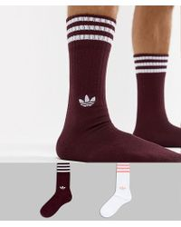 adidas Originals - 2 Pack Crew Socks In Red Dh3361 - Lyst