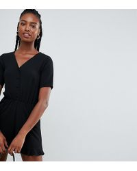 76ec6d184a0 New Look - Button Through Playsuit In Black - Lyst