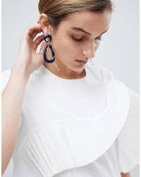 ASOS - Resin Shape And Gold Chain Strand Earrings - Lyst