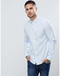 Emporio Armani - Slim Fit Textured Shirt In Light Blue - Lyst