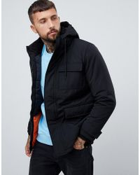 Bershka - Hooded Padded Parka In Black - Lyst