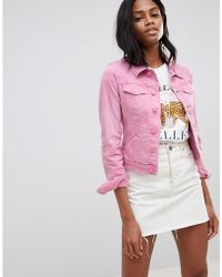 Oasis - Cropped Denim Jacket In Pink - Lyst