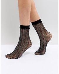 Leg Avenue - Rainbow Shimmer Fishnet Anklets - Lyst