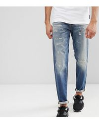 SELECTED - Jeans In Tapered Fit With Rip Repair Italian Denim - Lyst