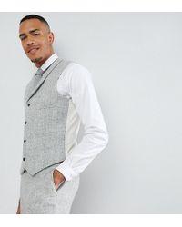 ASOS - Asos Tall Slim Suit Vest In 100% Wool Harris Tweed Herringbone In Light Gray - Lyst